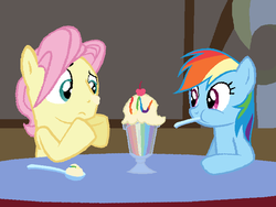 Size: 703x528 | Tagged: safe, artist:dilemmas4u, fluttershy, rainbow dash, butterdash, butterscotch, cherry, cute, date, female, half r63 shipping, ice cream, male, rule 63, shipping, spoon, straight, sundae