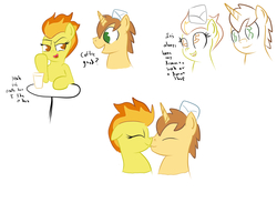 Size: 2442x1790 | Tagged: safe, artist:frikdikulous, donut joe, spitfire, coffee, colored, crack shipping, cup, dialogue, donutfire, eyes closed, female, handwritten text, hat, kissing, male, shipping, simple background, sketch, straight