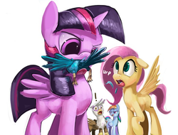 Size: 732x557 | Tagged: safe, artist:ponythroat, fluttershy, gilda, rainbow dash, twilight sparkle, alicorn, bird, griffon, pegasus, pony, bedroom eyes, burp, burping up items, crotch tasting, eaten alive, eating, exclamation point, eyes on the prize, feather, female, fetish, floppy ears, flutterpred, frown, glare, head first, horrified, imminent vore, kitchen eyes, licking lips, lidded eyes, mare, observer, omnivore twilight, open mouth, ponies eating meat, predation, raised hoof, shocked, simple background, smiling, smirk, spread wings, tongue out, twilight eats a bird, twilight sparkle (alicorn), twipred, vore, white background, wide eyes