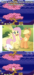 Size: 954x2106 | Tagged: fluttershy, fluttertree, game grumps, gradius, parodius, parodius da, parodius da!, safe