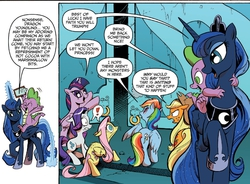Size: 1400x1029 | Tagged: safe, applejack, fluttershy, princess luna, rainbow dash, rarity, spike, twilight sparkle, alicorn, pony, idw, spoiler:comic, female, lampshade hanging, male, mare, riding, shipping, spike riding luna, spikelove, spiluna, straight, tempting fate, twilight sparkle (alicorn)