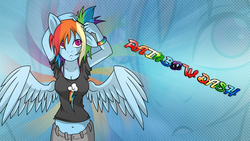 Size: 1920x1080 | Tagged: safe, artist:a-purple-pony, artist:owlisun, rainbow dash, anthro, alternate hairstyle, arm behind head, belly button, bra strap, cleavage, clothes, female, midriff, scrunchie, shirt, solo, wallpaper, zoom layer