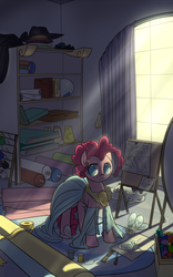 Size: 1200x1920 | Tagged: safe, artist:valcron, opalescence, pinkie pie, carousel boutique, clothes, crepuscular rays, dark, drawing, dress, fabric, gem, hat, interior, messy, needle, thread, window, wip, working