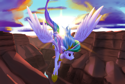 Size: 3048x2048   Tagged: safe, artist:nadnerbd, princess celestia, alicorn, pony, backlighting, canyon, cloud, crepuscular rays, epic, female, flying, lens flare, mare, scenery, solo, sun, wings