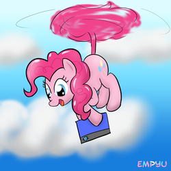 Size: 1000x1000 | Tagged: safe, artist:empyu, pinkie pie, 30 minute art challenge, helicopter, hilarious in hindsight, pinkiecopter, solo, tailcopter