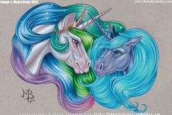 Size: 1095x730 | Tagged: safe, artist:mayra boyle, princess celestia, princess luna, horse, crying, eye contact, floppy ears, realistic, smiling, traditional art