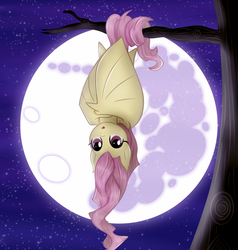 Size: 2856x3000   Tagged: safe, artist:kp-shadowsquirrel, artist:vocalmaker, fluttershy, bat pony, bats!, :o, cute, fangs, female, flutterbat, hanging, looking at you, mare in the moon, moon, night, prehensile tail, race swap, shyabates, shyabetes, solo, tree, upside down