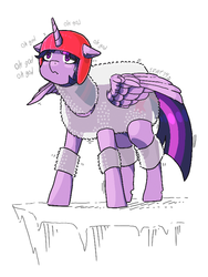 Size: 576x768 | Tagged: safe, artist:idrawweeklypony, twilight sparkle, alicorn, pony, bubble wrap, female, funny as hell, helmet, mare, nervous, scared, simple background, solo, trembling, twilight can't fly, twilight sparkle (alicorn), white background