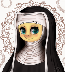 Size: 900x1000 | Tagged: artist:mingamia, fluttershy, habit, nun, safe, solo