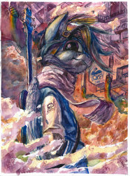 Size: 772x1036 | Tagged: safe, artist:quiet-victories, rainbow dash, pegasus, pony, semi-anthro, abstract background, bass guitar, bipedal, clothes, female, guitar, looking at you, mare, musical instrument, scarf, solo, traditional art, watercolor painting