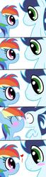 Size: 1024x3961 | Tagged: safe, artist:digital-pony-artist, rainbow dash, soarin', blushing, comic, cute, daaaaaaaaaaaw, dashabetes, eye contact, eyes closed, female, happy, heart, kissing, male, shipping, shocked, smiling, soarindash, stare, straight, surprise kiss, surprised, wide eyes
