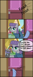 Size: 3013x7020 | Tagged: safe, artist:thecheeseburger, maud pie, book, comic, looking at you, missionary, pov, rock