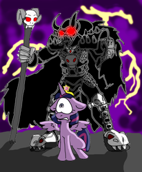 Size: 1024x1244 | Tagged: safe, artist:rhjunior, twilight sparkle, alicorn, human, pony, fanfic:the rise of darth vulcan, alicorn amulet, armor, big crown thingy, cape, clothes, darth vader, element of magic, evil overlord, fanfic, fanfic art, fanfic cover, female, floppy ears, frown, get, glowing eyes, gritted teeth, helmet, human in equestria, index get, jewelry, lightning, mare, red eyes, regalia, scared, skull, spikes, spread wings, twilight sparkle (alicorn), wide eyes