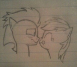 Size: 358x310 | Tagged: safe, artist:cross, rainbow dash, soarin', :p, blushing, boop, cute, eyes closed, female, frown, happy, lined paper, love, male, monochrome, nervous, noseboop, nuzzling, paper, pencil drawing, shipping, shy, sketch, smiling, soarindash, straight, tongue out, traditional art, wavy mouth, wide eyes