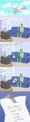 Size: 500x2000 | Tagged: safe, artist:elslowmo, oc, oc only, oc:anon, original species, plane pony, pony, predator drone, comic, commercial, couch, letter, love note, missile, note, plane, sears, television