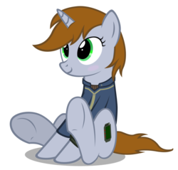 Size: 914x874   Tagged: safe, artist:mrlolcats17, oc, oc only, oc:littlepip, pony, unicorn, fallout equestria, blushing, clothes, cute, cutie mark, fanfic, fanfic art, female, hooves, horn, mare, pipabetes, pipbuck, simple background, sitting, smiling, solo, transparent background, vault suit
