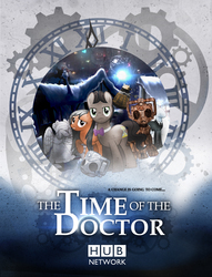 Size: 3500x4572 | Tagged: safe, artist:sitrirokoia, doctor whooves, time turner, cyber pony, cyberman, cyborg, earth pony, pegasus, pony, bowtie, christmas, clara oswin oswald, crossover, dalek, doctor who, eleventh doctor, handles, ponified, poster, slendermane, snow, television, the doctor, weeping angel