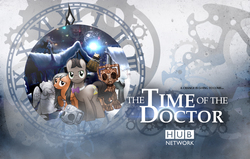 Size: 1500x955 | Tagged: safe, artist:sitrirokoia, doctor whooves, time turner, cyber pony, cyberman, cyborg, earth pony, pegasus, pony, bowtie, christmas, clara oswin oswald, crossover, dalek, doctor who, handles, hd, poster, slendermane, snow, television, wallpaper, weeping angel