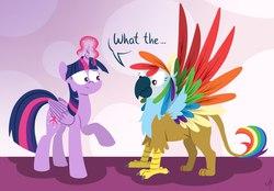 Size: 1280x889 | Tagged: safe, artist:milchik, rainbow dash, twilight sparkle, alicorn, griffon, parrot, parrot griffon, pony, colored wings, duo, female, griffonized, mare, multicolored wings, rainbow griffon, rainbow wings, species swap, twilight sparkle (alicorn)