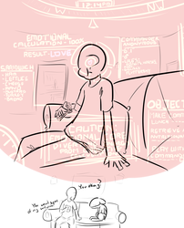 Size: 1453x1801 | Tagged: safe, artist:nobody, oc, oc only, oc:anon, human, original species, plane pony, pony, predator drone, analysis, chart, checklist, couch, dialogue, drone, eating, food, hud, plane, pov, profile, sandwich, sitting, sketch