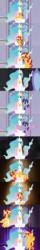 Size: 1120x6930   Tagged: safe, artist:beavernator, princess celestia, sunset shimmer, twilight sparkle, alicorn, pony, baby, baby pony, comic, filly, foal, injured, mirror, momlestia, race swap, shimmercorn, twilight sparkle (alicorn)