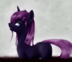 Size: 988x856 | Tagged: safe, artist:madhotaru, oc, oc only, pony, unicorn, blank flank, dirt, female, lip bite, mare, solo