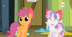 Size: 711x366 | Tagged: safe, screencap, scootaloo, sweetie belle, pony, somepony to watch over me, apple bloom's bow, bow, hair bow, hub logo