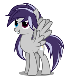Size: 2900x3400   Tagged: safe, artist:junkiesnewb, oc, oc only, pegasus, pony, female, grin, heterochromia, high res, mare, simple background, smiling, solo, spread wings, transparent background, vector