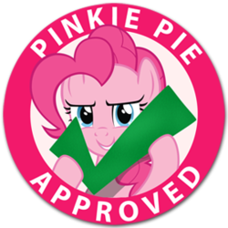 Size: 300x300 | Tagged: safe, artist:9qsm78, pinkie pie, check, felt check, meme, seal of approval, solo