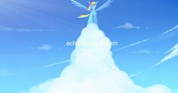 Size: 1602x840 | Tagged: safe, artist:sodeshigure, rainbow dash, cloud, cloudy, motivational, pixiv, solo