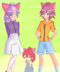 Size: 1250x1510   Tagged: safe, artist:jonfawkes, apple bloom, scootaloo, sweetie belle, human, somepony to watch over me, elf ears, humanized, unicorns as elves, wing ears