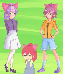 Size: 1000x1165   Tagged: safe, artist:jonfawkes, apple bloom, scootaloo, sweetie belle, human, somepony to watch over me, clothes, dress, elf ears, humanized, kneesocks, mary janes, socks, unicorns as elves, wing ears