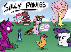 Size: 1100x800 | Tagged: safe, artist:kymsnowman, applejack, fluttershy, minuette, pinkie pie, rarity, scootaloo, twilight sparkle, chicken, pony, unicorn, bridle gossip, green isn't your color, hurricane fluttershy, over a barrel, stare master, alternate hairstyle, bacon, bacon hair, breaking the fourth wall, dark matter, dark matter applejack, dendrification, female, fluttertree, fourth wall, karate, mare, marshmallow, rarity is a marshmallow, scootachicken, silly, silly pony, species swap, toothpaste, tree, unicorn twilight, wat