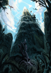 Size: 2480x3508 | Tagged: safe, artist:jowybean, twilight sparkle, alicorn, phoenix, pony, canterlot, canterlot mountain, dark, epic, female, flying, forest, mare, mountain, peak, scenery, scenery porn, solo, twilight sparkle (alicorn), vertigo
