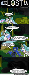 Size: 1300x3341 | Tagged: safe, artist:bredgroup, princess celestia, princess luna, alicorn, pony, comic:celostia, :o, bandage, comic, female, frown, injured, injured wing, looking back, lost, mare, open mouth, prone, raised hoof, smoke monster, speech bubble, text, translation, wide eyes