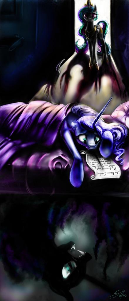 #590505 - absurd res artistsilfoe backlighting bed blanket dark door fangs floppy ears friendship report frown letter nightmare moon ... & 590505 - absurd res artist:silfoe backlighting bed blanket dark ...
