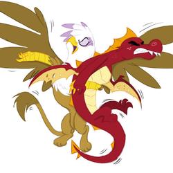 Size: 700x700   Tagged: safe, artist:isa-isa-chan, garble, gilda, dragon, griffon, colored, garblebuse, garilda, holding