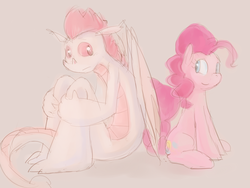 Size: 1024x768 | Tagged: ask, ask straight fizzle, dragon, fizzle, pinkie pie, safe, tumblr