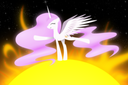 Size: 6000x4000 | Tagged: artist:flamevulture17, balancing, cute, cutelestia, happy, pink mane, pink-mane celestia, princess celestia, raised hoof, raised leg, safe, smiling, solo, space, spread wings, sun, tangible heavenly object, walking on sunshine