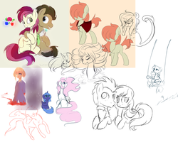 Size: 1024x819 | Tagged: safe, artist:fikakorv, doctor whooves, princess celestia, princess luna, roseluck, time turner, twilight sparkle, oc, oc:rudy redhead, doctorrose, female, male, shipping, sketch dump, straight