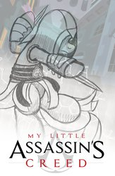 Size: 722x1107 | Tagged: safe, artist:drawponies, assassin's creed, awesome, drawing, poster, product, sketch, solo, wip