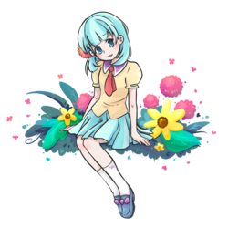 Size: 1800x1800 | Tagged: safe, artist:foxmi, coco pommel, human, blushing, clothes, cocobetes, cute, female, flower, humanized, light skin, simple background, skirt, solo, transparent background