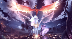 Size: 2933x1600 | Tagged: safe, artist:fruitbloodmilkshake, philomena, princess celestia, princess luna, twilight sparkle, alicorn, phoenix, pony, unicorn, book, cloud, epic, female, glow, jewelry, levitation, magic, magic aura, mare, pet, regalia, scenery, sky, spread wings, telekinesis, unicorn twilight, vertigo, volcano