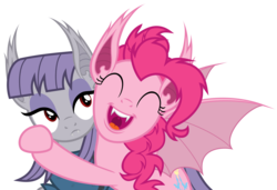 Size: 6000x4100 | Tagged: absurd res, artist:magister39, bat ponified, bat pony, bats!, hug, maudbat, maud pie, pinkiebat, pinkie pie, pony, race swap, safe, simple background, sister, sisters, transparent background, vampire, vector