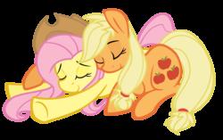 Size: 2000x1253 | Tagged: safe, artist:grayflower, applejack, fluttershy, pony, accessory swap, appleshy, cuddling, cute, eyes closed, female, hug, lesbian, prone, resting, shipping, sleeping, smiling, snuggling