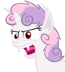 Size: 5450x6000 | Tagged: safe, artist:magister39, sweetie belle, bat pony, pony, vampire, bats!, absurd resolution, angry, bat ponified, fangs, race swap, rage, simple background, solo, sweetie bat, transparent background, vector