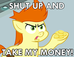 Size: 500x389 | Tagged: safe, artist:cheezedoodle96, gallop j. fry, pony, background pony, caption, colt, futurama, male, meme, philip j. fry, reaction image, shut up and take my money, solo, vector