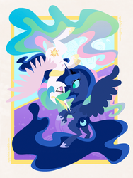 Size: 600x800 | Tagged: alicorn, artist:egophiliac, boop, cute, cutelestia, duo, eye contact, female, lineless, looking at each other, lunabetes, no pupils, noseboop, pony, princess celestia, princess luna, royal sisters, safe, siblings, sisters, upside down