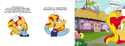 Size: 1642x614 | Tagged: safe, artist:carnifex, edit, cherry berry, scootaloo, sunset shimmer, sweetie belle, pony, twilight time, clothes, comic, fast food, pure unfiltered evil, scheming, uniform