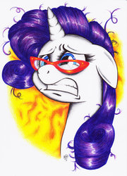 Size: 900x1247 | Tagged: safe, artist:beti-young, rarity, pony, unicorn, female, floppy ears, frown, glasses, gritted teeth, mare, messy mane, solo, traditional art